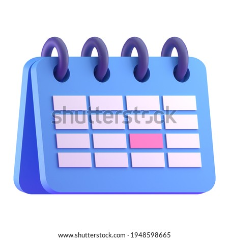 Monthly calendar schedule plan tent icon 3D render illustration
