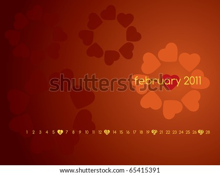 stock photo : Monthly calendar wallpaper for 2011 - February