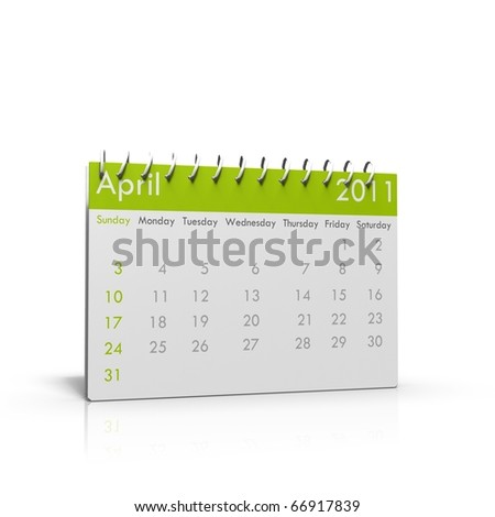 Monthly calender of April 2011 with spiral on top