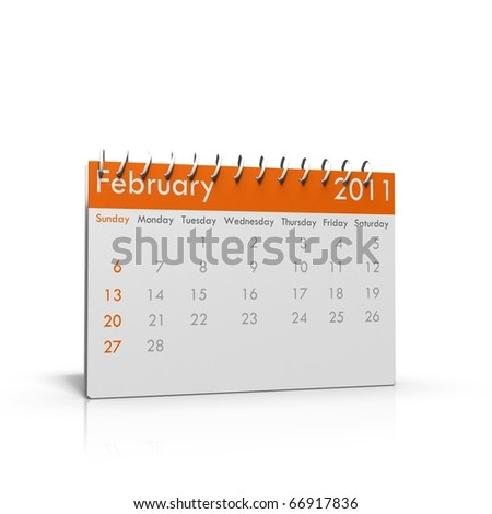 Monthly calender of February 2011 with spiral on top