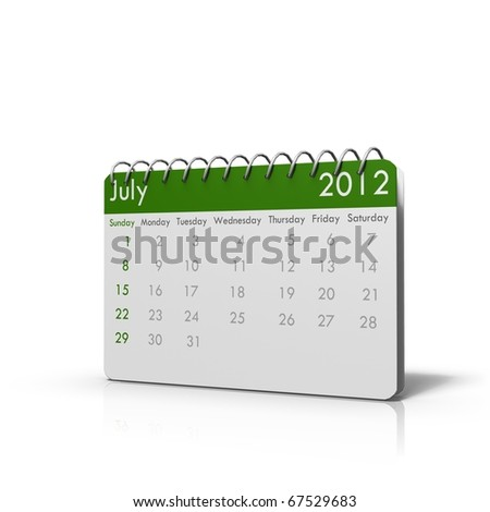 Monthly calender of 2012 with spiral on top and rounded corners