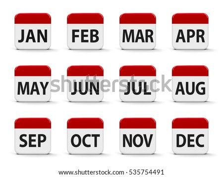 Months calendar web buttons, three-dimensional rendering, 3D illustration