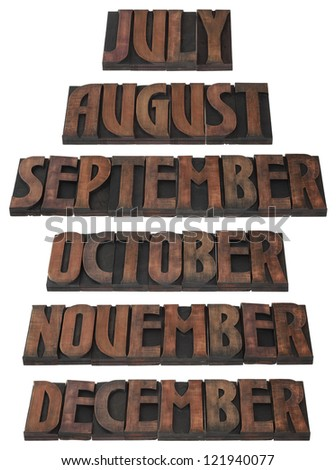 Months of the Year in Wooden Letterpress Printing Block Letters