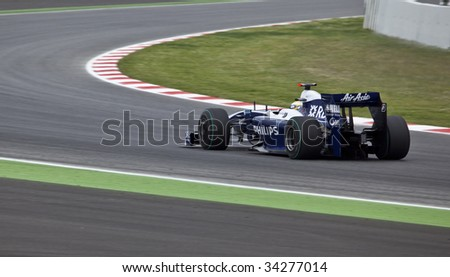 MONTMELO, SPAIN - MAY 10: Williams-Toyota participates in the Spanish Grand Prix on May 10, 2009 in Montmelo, Spain.  Nico Rosberg finished in 8th place and Kazuki Nakajima finished in 13th.