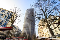 Montparnasse tower with the market stall in the foreground, Paris, France / wide angle view