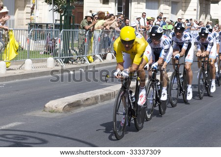 MONTPELLIER, FRANCE - JULY 7: Team Saxobank pushes forward in Stage 4 of the 2009 Tour de France on July 7, 2009 in Montpellier, France.