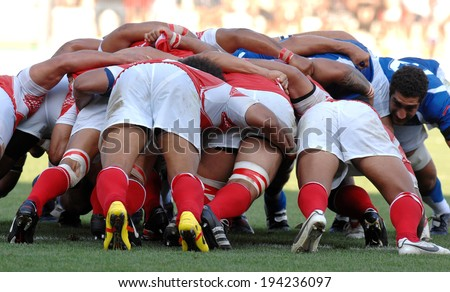 MONTPELLIER FRANCE-SEPTEMBER 16 2007 rugby players scrum during the rugby match Tonga vs Samoa of the Rugby World Cup in Montpellier