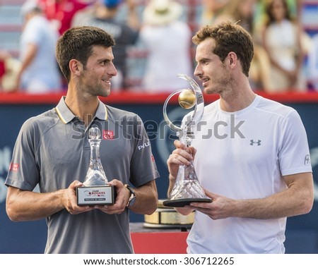 MONTREAL AUGUST 16 Andy Murray of Great Britain and Novak Djokovic of Serbia with their trophies at the 2015 Rogers Cup on August 16 2015 in Montreal Canada
