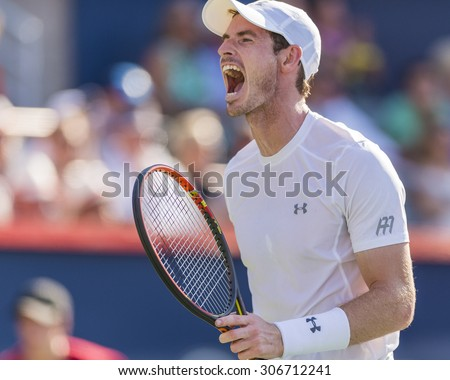 MONTREAL AUGUST 16 Andy Murray of Great Britain during his final match win over Novak Djokovic of Serbia at the 2015 Rogers Cup on August 16 2015 in Montreal Canada