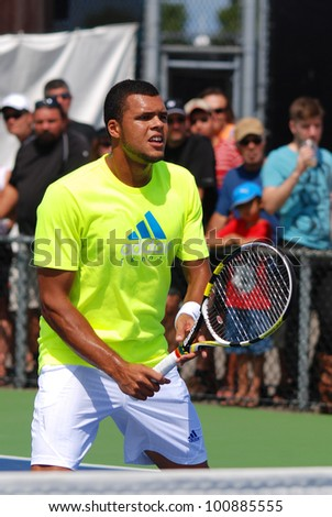 MONTREAL - AUGUST 9: Jo-Wilfried Tsonga on court of Montreal Rogers Cup on August 9, 2011 in Montreal, Canada. Jo-Wilfried Tsonga is a French professional tennis player.