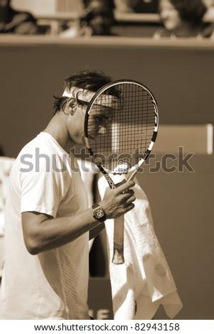 MONTREAL - AUGUST 5:Raphael Nadal on training court at Montreal Rogers Cup on August 5, 2011 in Montreal, Canada. Rafael \