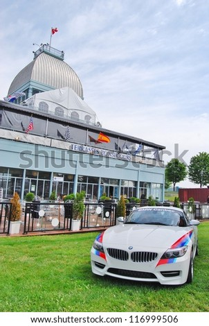 MONTREAL, CA - JUNE 09: A White BMW Canbec at a Car Exhibit on June 09, 2010 in Montreal, Canada. BMW exhibit at the famous Terraces Bonsecours in Montreal, Canada.