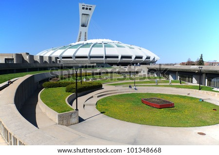MONTREAL,CANADA -APR.29.The Montreal Olympic Stadium and tower on April 29 , 2012. It's the tallest inclined tower in the world.Tour Olympique stands 175 meters tall and at a 45-degree angle