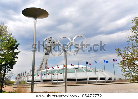 MONTREAL,CANADA -APR.29.The Montreal Olympic Stadium and tower on April 29 , 2012. It's the tallest inclined tower in the world.Tour Olympique stands 175 meters tall and at a 45-degree angle.