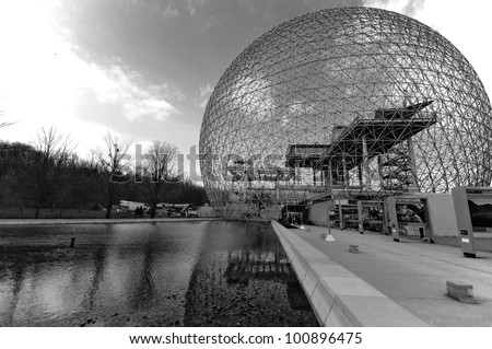 MONTREAL-CANADA APRIL 02: The Biosphere is a museum in Montreal dedicated to the environment. Located at Parc Jean-Drapeau in the former pavilion of the United States on April 02 2012 Montreal, Canada