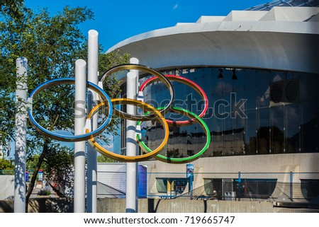 MONTREAL, CANADA - AUGUST 13, 2017: Montreal Olympic Stadium. Olympic Stadium Montreal (Stade olympique, 1970) at Olympic Park in Hochelaga-Maisonneuve district of Montreal. #719665747