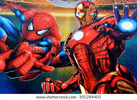 stock photo montreal canada august sign of marvel universe live on bell center will captivate 305284403 - Каталог — Фотообои «Для детской»