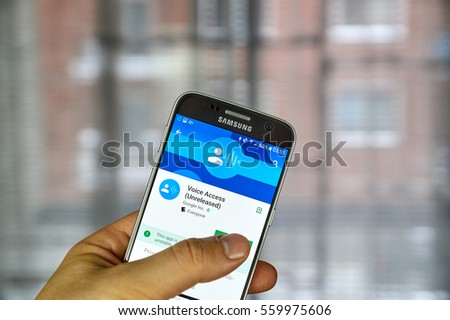 MONTREAL, CANADA - DECEMBER 23, 2016 : Google Voice Access on Samsung S7 screen. Google's Voice Access is an experimental app that allows Android users to control their device by voice
