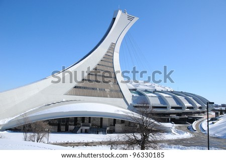 MONTREAL,CANADA -FEB.26.The Montreal Olympic Stadium and tower on February 26 , 2012. It's the tallest inclined tower in the world.Tour Olympique stands 175 meters tall and at a 45-degree angle