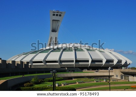 MONTREAL,CANADA -JUL.04.The Montreal Olympic Stadium on July 4 , 2011. It's the tallest inclined tower in the world.Tour Olympique stands 175 meters tall and at a 45-degree angle