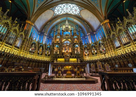 Montreal, Canada - July 03 2016: Basilique Notre-Dame de Montréal, complete with spectacular colours, started as a church on the site in 1672 #1096991345