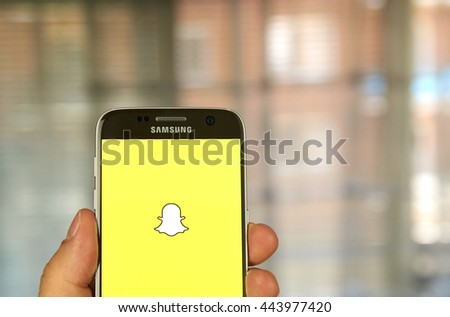 MONTREAL, CANADA - JUNE 23, 2016 - Snapchat application on android Samsung S7 screen. Snapchat is a mobile messaging application used to share photos, videos, text, and drawings.