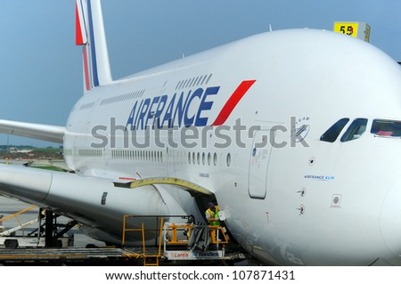 MONTREAL - CANADA MAY 25: Air France A380 a the Montreal's airport in preparation for takeoff on May 25 2012, Montreal, Canada. A380 is the world's largest passenger airliner