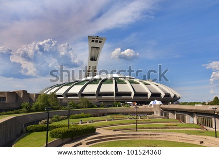 MONTREAL,CANADA -MAY.09.The Montreal Olympic Stadium and tower on may 09 , 2010. It's the tallest inclined tower in the world.Tour Olympique stands 175 meters tall and at a 45-degree angle