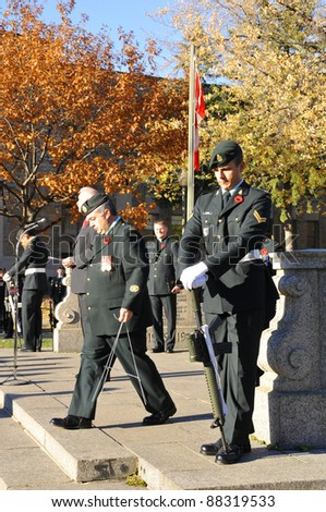 MONTREAL CANADA NOVEMBER 6 :Canadians soldiers in uniform for the remembrance Day on November 6,  2011, Montreal, Canada.The day was dedicated by King George V on 7-11-19 as a day of remembrance.