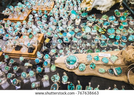 Montreal, Canada _ November 29, 2017. Gemstones and Semi Precious Stones Display in Pierre d'Ailleurs Shop on St-Denis Street in Montreal. #767638663