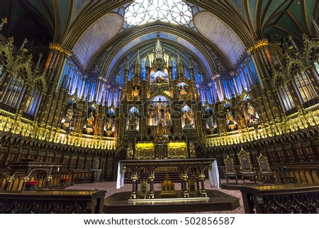 MONTREAL, CANADA, OCTOBER 03, 2016 : interiors and details of Notre Dame basilica, october 03, 2016 in Montreal, quebec, Canada #502856587