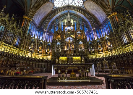MONTREAL, CANADA, OCTOBER 03, 2016 : interiors and details of Notre Dame basilica, october 03, 2016 in Montreal, quebec, Canada #505767451
