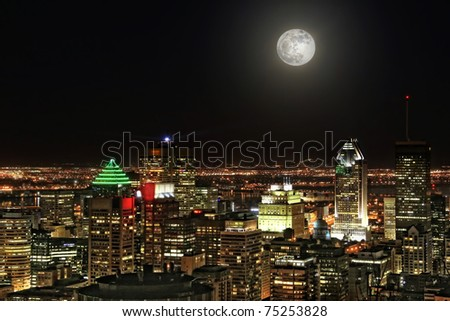 Montreal city at moonlight