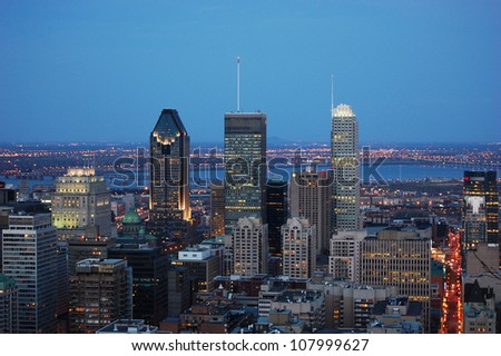 Montreal city skyline at sunset from Parc Mont-Royal,Montreal, Quebec, Canada