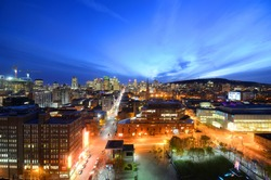 Montreal city skyline at sunset, Montreal, Quebec, Canada