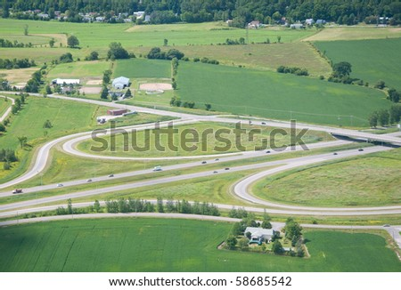 Montreal Highway.  Aerial view.
