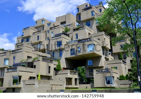MONTREAL-JUNE 15: A view of Habitat 67 on June 15, 2013 in Montreal, Quebec, CA. Habitat 67 is considered a landmark and one of the most recognizable and significant buildings in Montreal and Canada