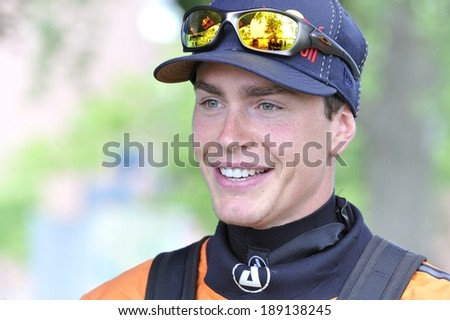 MONTREAL - JUNE 8: The Canadian alpine skier Erik Guay meets the media during a Red Bull kayaking event prior to the Canadian Grand Prix, on February 15, 2012 in Montreal, Quebec, Canada.