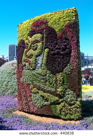 Montreal Mosaiculture 2003 Flower Sculptures Japanese Face