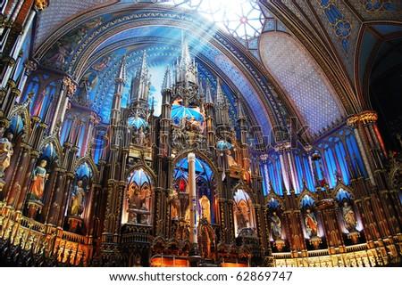 Montreal Notre-Dame Basilica Sunshine on the altar of Montreal Notre-Dame Basilica (French: Basilique Notre-Dame de Montreal)