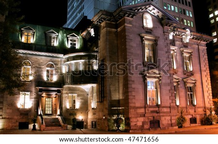 Montreal Old Office Building at Night