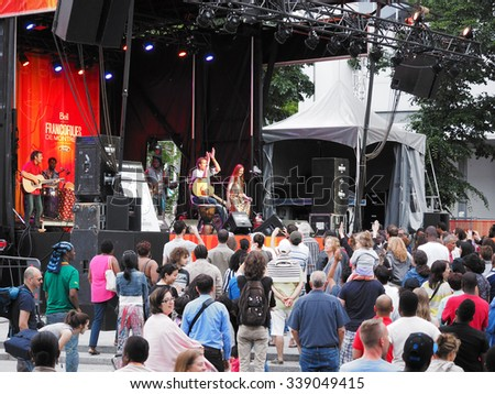 Montreal, Quebec, Canada -  concert Summer event outdoor entertainment . ethnic music stage and audience