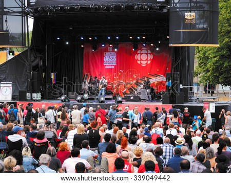 Montreal, Quebec, Canada - jazz festival stage and audience downtown outdoor summer concert