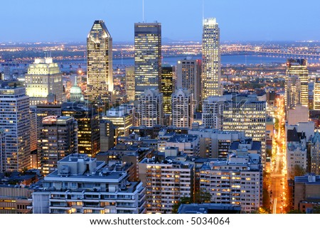 Montreal's downtown by night