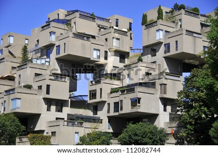 MONTREAL-SEPT. 03: A view of Habitat 67 on Sept 03, 2012 in Montreal, Quebec, CA. Habitat 67 is considered a landmark and one of the most recognizable and significant buildings in  Montreal and Canada