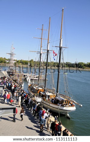 MONTREAL-SEPT 16: Festival du Bateau Classique de Montral - Montreal Classic Boat Festival,on September, 16, 2012 Montreal, Canada, Montreal old port quays are the perfect venue for a festival. - stock photo