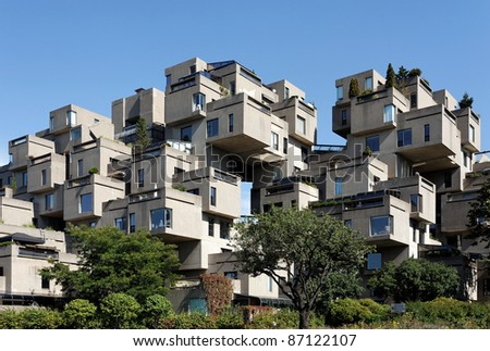 MONTREAL - SEPTEMBER 26: A view of Habitat 67 on September 26, 2011 in Montreal, Quebec, CA. The landmark housing complex was originally built for the 1967 World's Fair, also known as Expo 67.