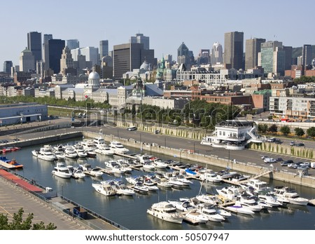 Montreal skyline, aerial view
