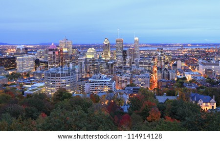 Montreal skyline at dusk, aerial view