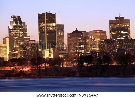 Montreal skyline at dusk, Canada